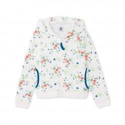Girls' zippered sweatshirt in terry cloth bouclette