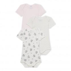 Set of 3 baby girl's print, polka dot and plain bodysuits