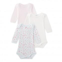 Set of 3 baby girl's polka dot and plain long-sleeved bodysuits