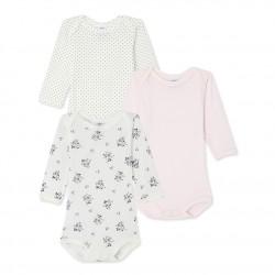 Set of 3 baby girl's print, plain and polka dot long-sleeved bodysuits