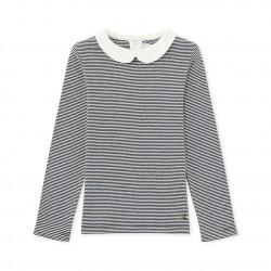 Girls' long-sleeved ribbed T-shirt