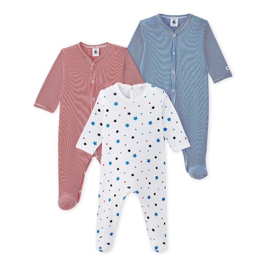 97facf2e3d Set of three baby boy s sleepsuits - petit-bateau.gr