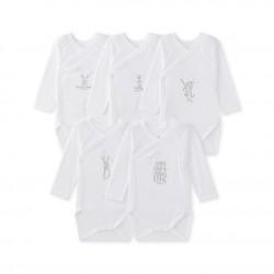 Set of 5 newborn baby long-sleeved unisex bodysuits