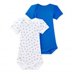 Set of 2 baby boys' short-sleeved bodysuits