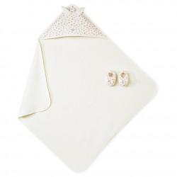 Μπουρνουζοπετσέτα μωρού σε κουτί με σετ παντοφλάκια