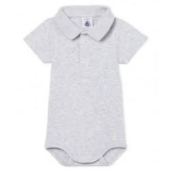 Baby boys' plain bodysuit with polo shirt collar