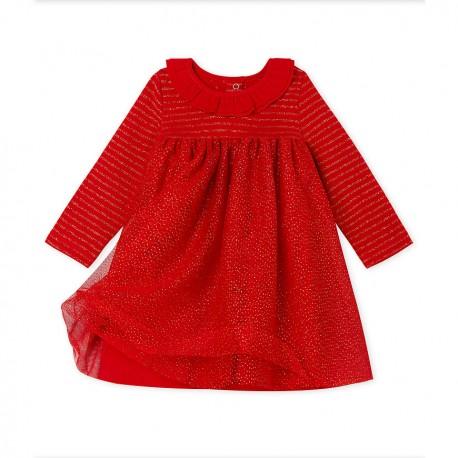 Baby Girls' Long-Sleeved Dual Material Dress