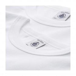 Set of 2 baby boys' short-sleeved white t-shirts