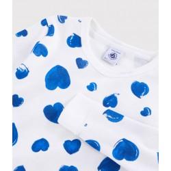 Girls' Snugfit Blue Hearts Ribbed Pyjamas