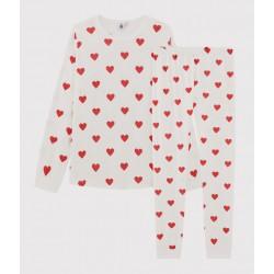 Children's hearts print ribbed pyjamas