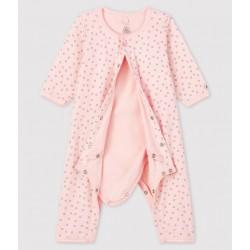 Baby Girls' Pink Starry Footless Ribbed Bodyjama
