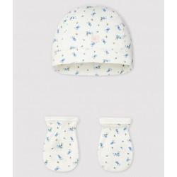 Newborn Babies' Bonnet and Mittens Set in Rib Knit