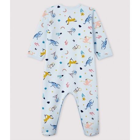 Babies' Blue Animal Print Fleece Sleepsuit