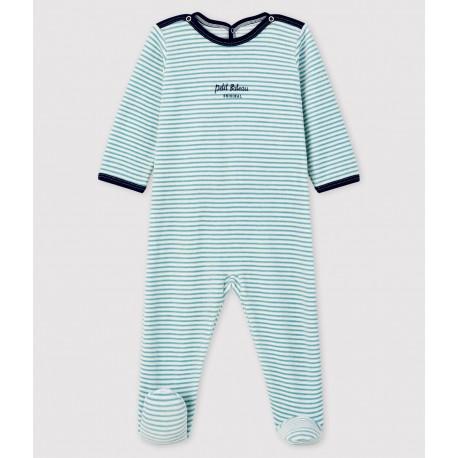 Babies' Striped Velour Sleepsuit