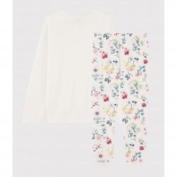 Girls' Floral Dual-Material Pyjamas