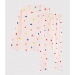 Girls' Starry Print Ribbed Pyjamas