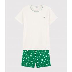 Unisex White Starry Ribbed Short Pyjamas