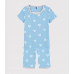 Girls' Blue Heart Pattern Organic Cotton Short Pyjamas