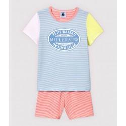Girls' Colourful Pinstriped Cotton Short Pyjamas