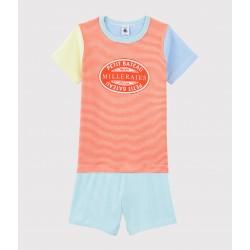 Boys' Colourful Pinstriped Cotton Short Pyjamas